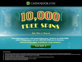 Win Your Part Of 10,000 Free Spins At CasinoLuck!