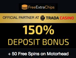 TradaCasino Exclusive Deal: 150% plus 50 Free Spins on Motörhead