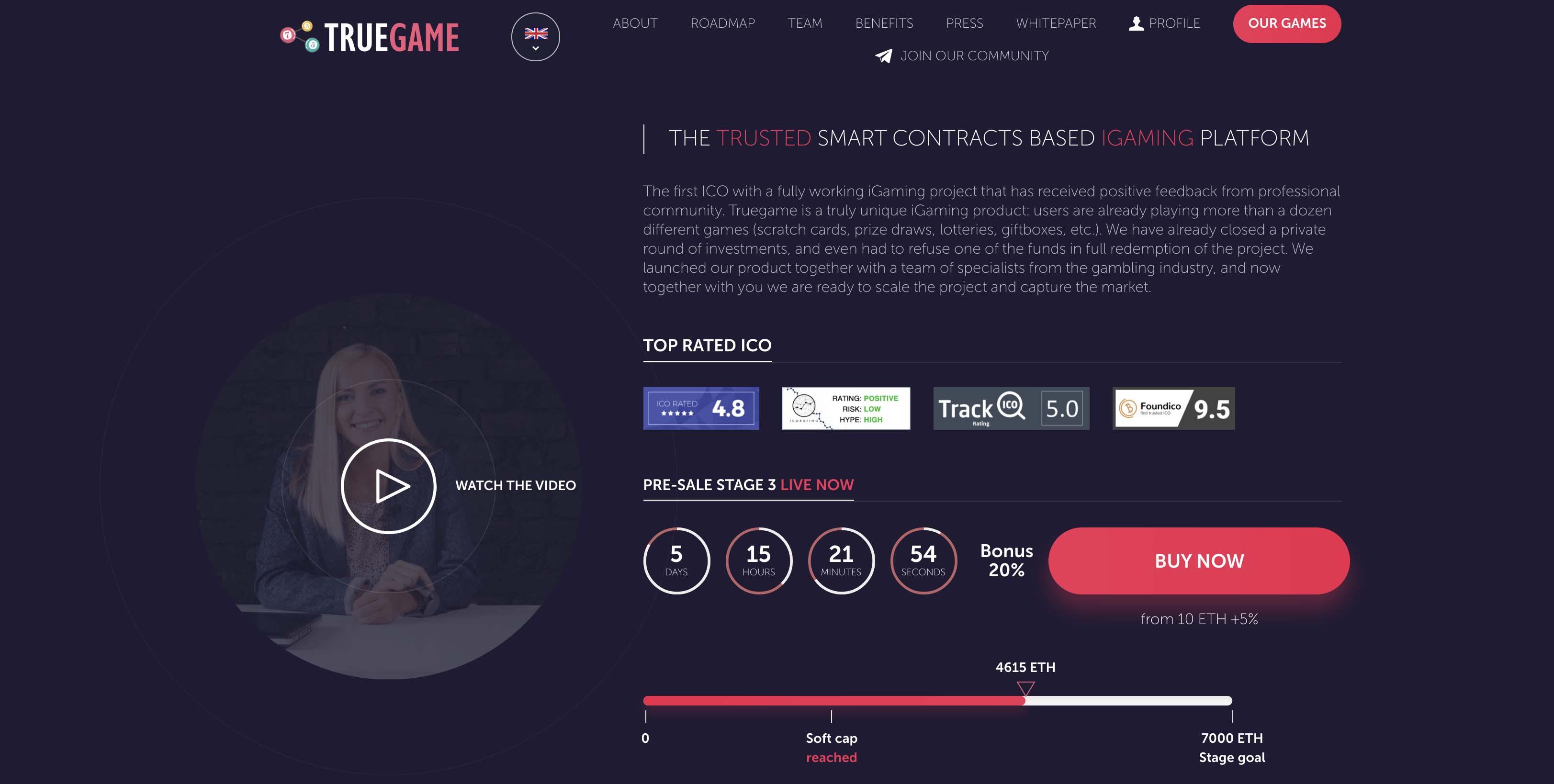Truegame ICO website